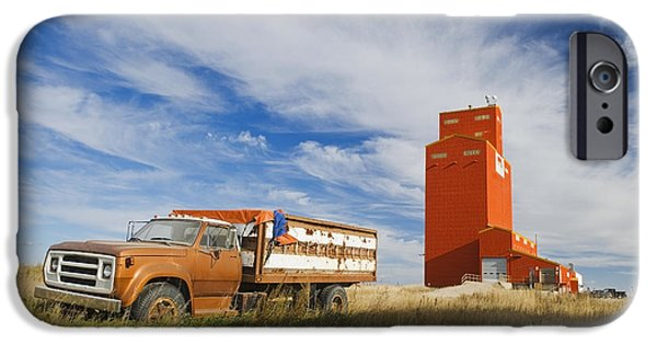Dave iPhone Cases - Old Farm Truck And Grain Elevator iPhone Case by Dave Reede