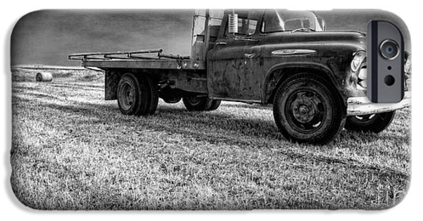 Agricultural iPhone Cases - Old Farm Truck Black and White iPhone Case by Edward Fielding