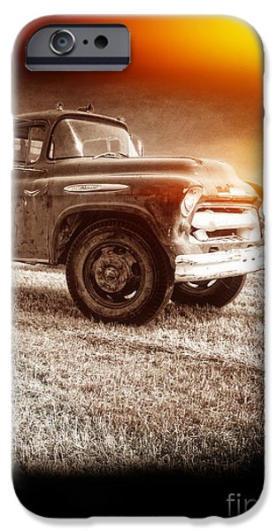 Crops iPhone Cases - Old farm truck with explosion at night iPhone Case by Edward Fielding