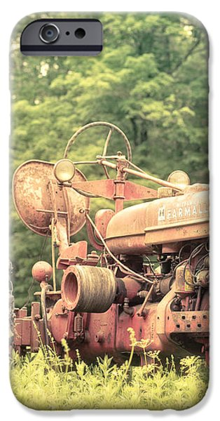 Old Farmall Tractor at Sunrise iPhone Case by Edward Fielding