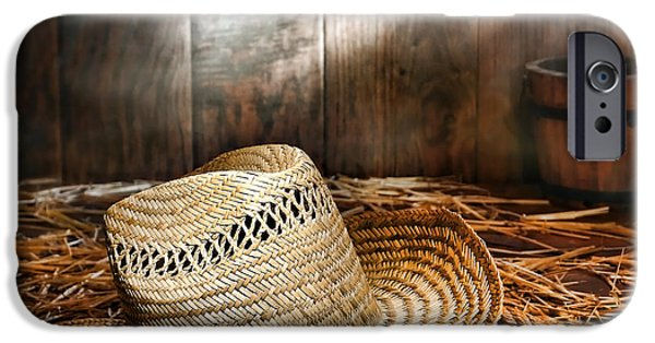 Loose Style Photographs iPhone Cases - Old Farmer Hat and Rope iPhone Case by American West Decor By Olivier Le Queinec