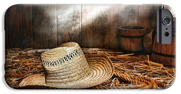 Oil Lamp Photographs iPhone Cases - Old Farmer Hat and Rope iPhone Case by Olivier Le Queinec