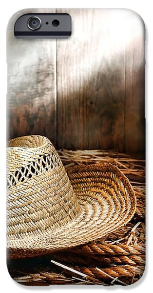 Old Farmer Hat and Rope iPhone Case by Olivier Le Queinec