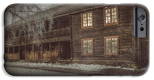 Rural Snow Scenes iPhone Cases - Old Farmers House iPhone Case by Erik Brede