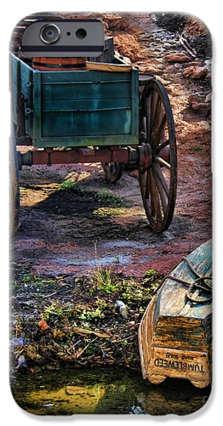Wooden Wagons iPhone Cases - Old Fashion Cart And Boat  iPhone Case by Lee Dos Santos
