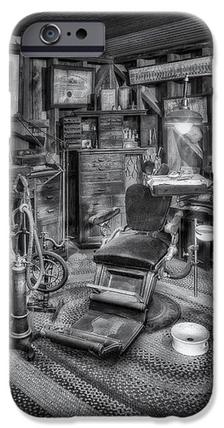 North America iPhone Cases - Old Fashioned Dentist Office BW iPhone Case by Susan Candelario