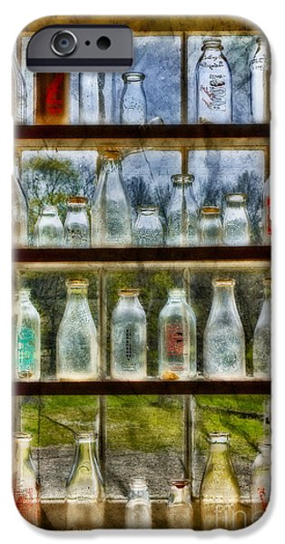 Pint Milk Bottle. iPhone Cases - Old Fashioned Milk Bottles iPhone Case by Susan Candelario