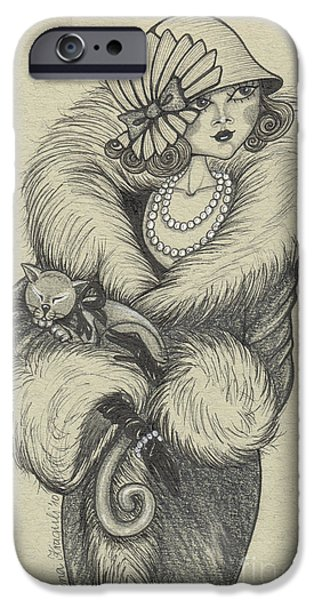 Cat Drawing Drawings iPhone Cases - Old-fashioned iPhone Case by Snezana Kragulj