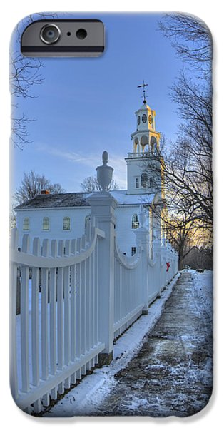 Snow iPhone Cases - Old First Church - Bennington Vermont iPhone Case by Joann Vitali