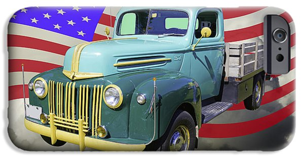 Red White And Blue iPhone Cases - Old Flat Bed Ford Work Truck And American Flag iPhone Case by Keith Webber Jr