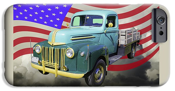 Old Truck iPhone Cases - Old Flat Bed Ford Work Truck And American Flag iPhone Case by Keith Webber Jr