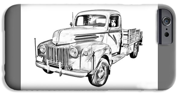 Antiques iPhone Cases - Old Flat Bed Ford Work Truck Illustration iPhone Case by Keith Webber Jr
