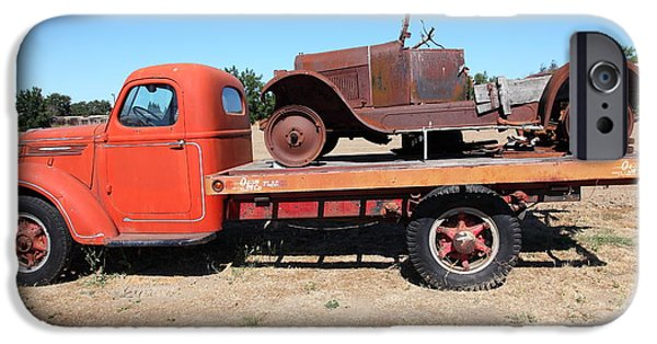 Tow Truck iPhone Cases - Old Flatbed Truck Towing The Old Jalopy 5D23963 iPhone Case by Wingsdomain Art and Photography