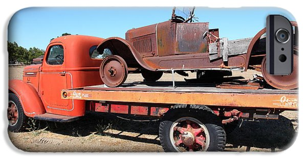 Tow Truck iPhone Cases - Old Flatbed Truck Towing The Old Jalopy 5D23974 iPhone Case by Wingsdomain Art and Photography