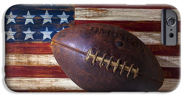 Sports iPhone Cases - Old Football On American Flag iPhone Case by Garry Gay