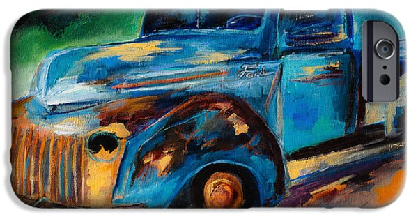 Rusted Cars iPhone Cases - Old Ford In the Back of the Field iPhone Case by Elise Palmigiani