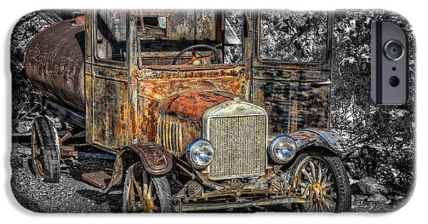 Abstract Digital Pyrography iPhone Cases - Old Ford iPhone Case by Mauro Celotti