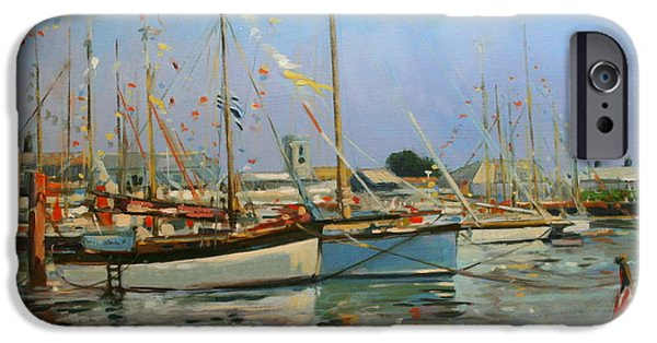 Sailboat Ocean iPhone Cases - Old Gaffers  Yarmouth  Isle of Wight iPhone Case by Jennifer Wright