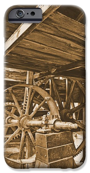 Grist Mill iPhone Cases - Old Gears at Falling Spring Mill iPhone Case by Greg Matchick