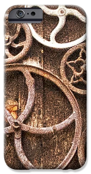 Old Gears in Genoa Nevada iPhone Case by Artist and Photographer Laura Wrede