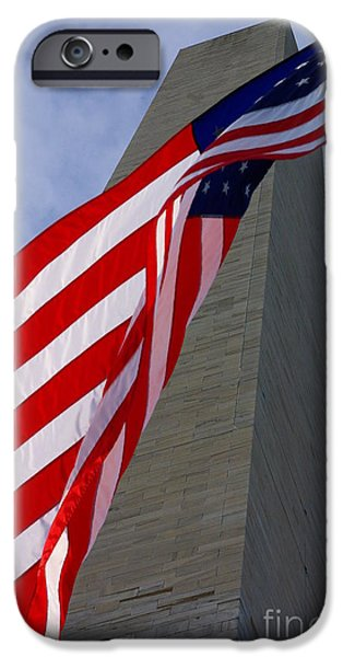 Nation iPhone Cases - Old Glory And The Washington Monument iPhone Case by John S