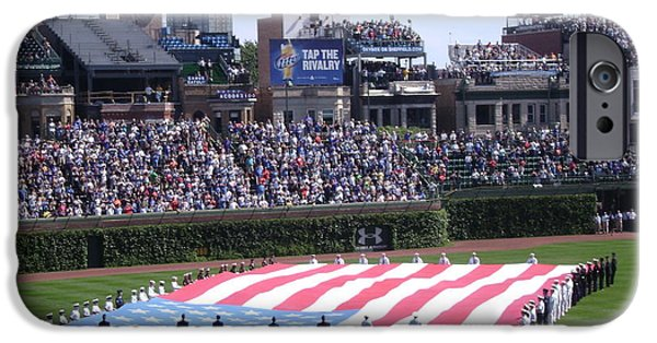 Recently Sold -  - Wrigley iPhone Cases - Old Glory at Wrigley iPhone Case by Mike Niday