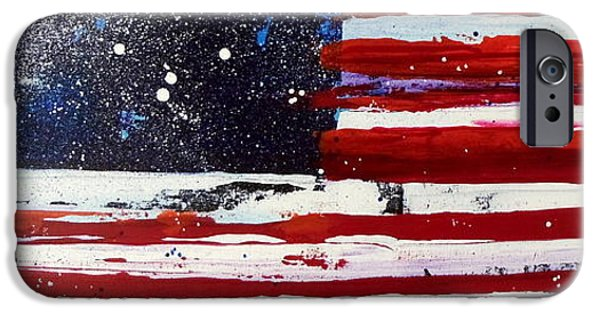 Independence Day Mixed Media iPhone Cases - Old Glory Beneath The Stars iPhone Case by Charles Jos Biviano