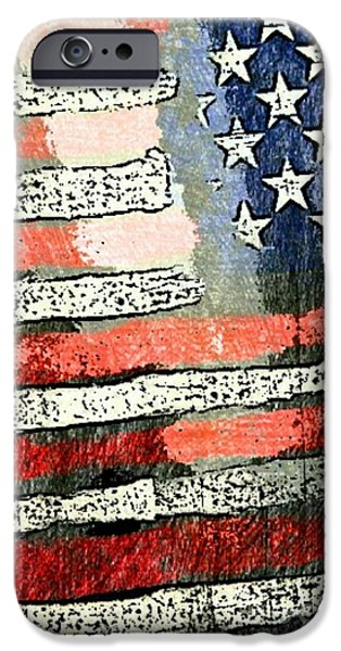 Old Glory Drawings iPhone Cases - Old Glory iPhone Case by Blackwater Studio