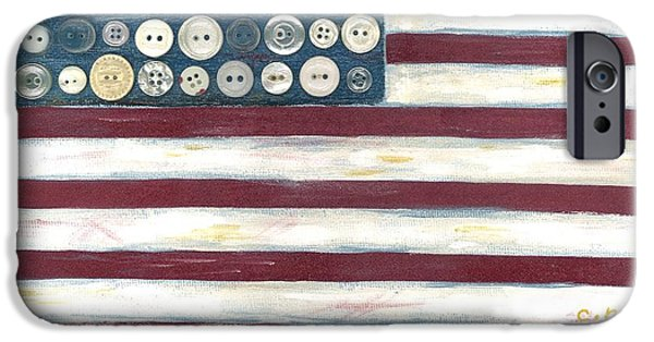 Old Glory Mixed Media iPhone Cases - Old Glory iPhone Case by Carol Neal