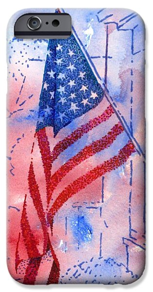 Independence Day Mixed Media iPhone Cases - Old Glory in the Neighborhood iPhone Case by Peter Plant