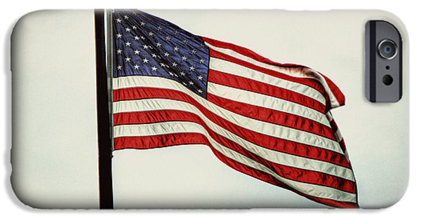 4th July Photographs iPhone Cases - Old Glory in the Wind iPhone Case by Emily Kay