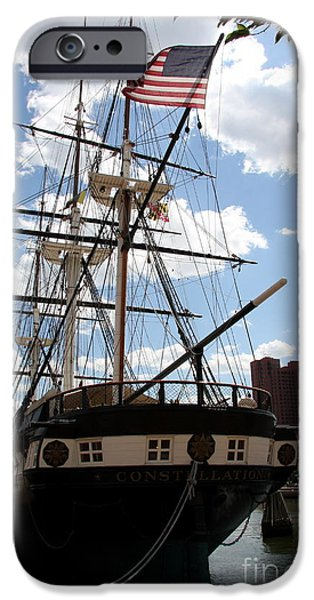 Constellations iPhone Cases - Old Glory - USS Constellation iPhone Case by Christiane Schulze Art And Photography