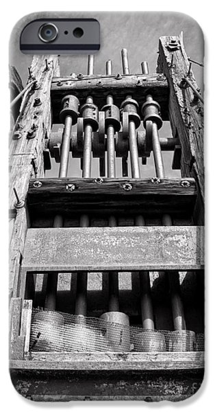 Machinery iPhone Cases - Old Gold Mine Technology in Black and White iPhone Case by Lee Craig