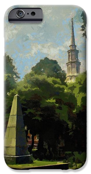 Headstones Digital Art iPhone Cases - Old Granery Burying Ground iPhone Case by Jeff Kolker
