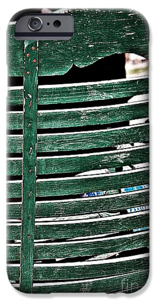 Ladder Back Chairs iPhone Cases - Old Green Chair iPhone Case by JW Hanley