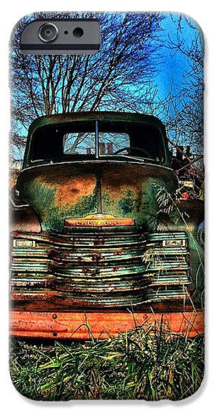 Julie Dant iPhone Cases - Old Green Chevy iPhone Case by Julie Dant