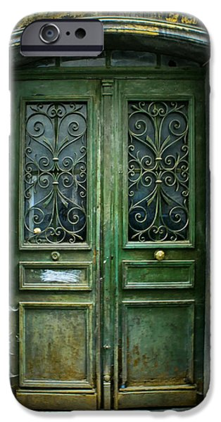 French Doors iPhone Cases - Old Green Door iPhone Case by Nomad Art And  Design