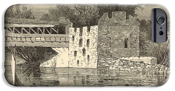 Covered Bridge Drawings iPhone Cases - Old Grist-Mill of the Revolution 1872 Engraving by John Karst iPhone Case by Antique Engravings