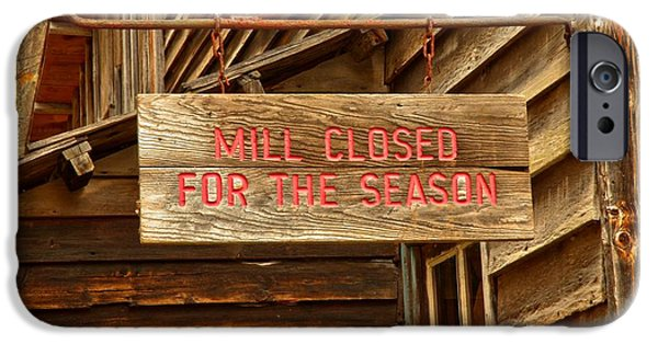 Grist Mill iPhone Cases - Old Grist Mill Sign iPhone Case by Adam Jewell