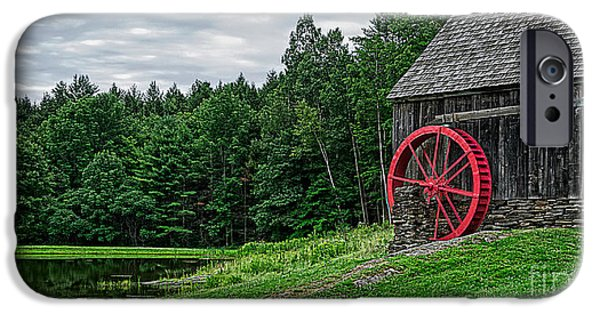 Country Store iPhone Cases - Old Grist Mill Vermont Red Water Wheel iPhone Case by Edward Fielding