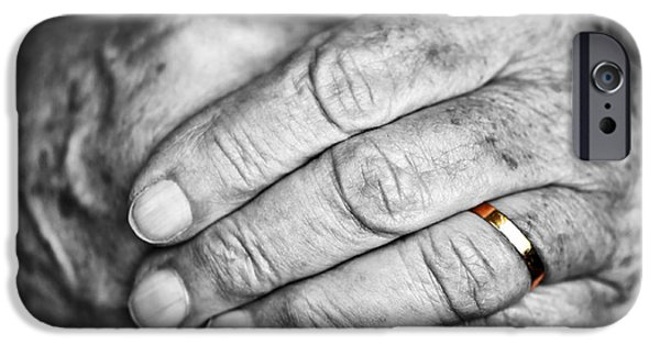Retired iPhone Cases - Old hands with wedding band iPhone Case by Elena Elisseeva