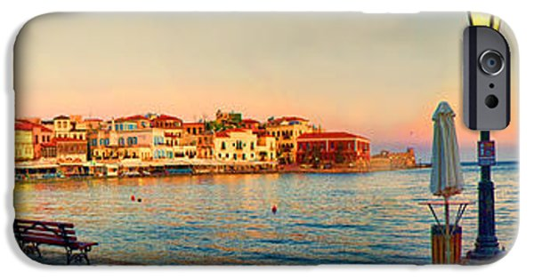 Sailing iPhone Cases - Old Harbour in Chania Crete Greece iPhone Case by David Smith