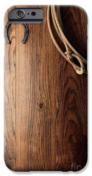Tools Photographs iPhone Cases - Old Horseshoe and Lariat iPhone Case by Olivier Le Queinec