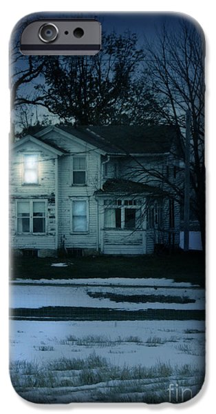 Moonlit Night Photographs iPhone Cases - Old House Window Lit at Night iPhone Case by Jill Battaglia