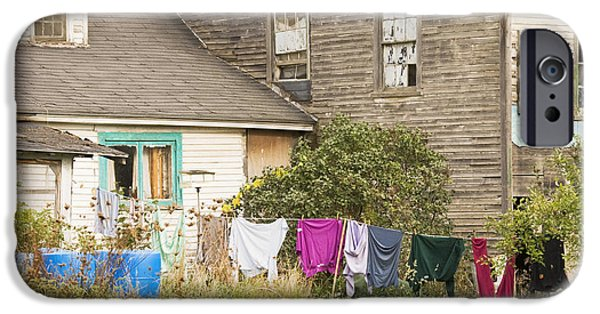 Run Down iPhone Cases - Old House With Laundry iPhone Case by Keith Webber Jr