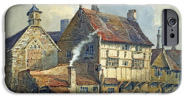Horse And Cart Paintings iPhone Cases - Old Houses and St Olaves Church iPhone Case by George Shepherd
