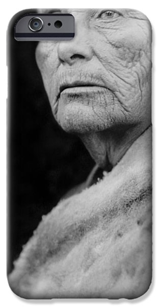 Gray Hair iPhone Cases - Old Hupa woman circa 1923 iPhone Case by Aged Pixel