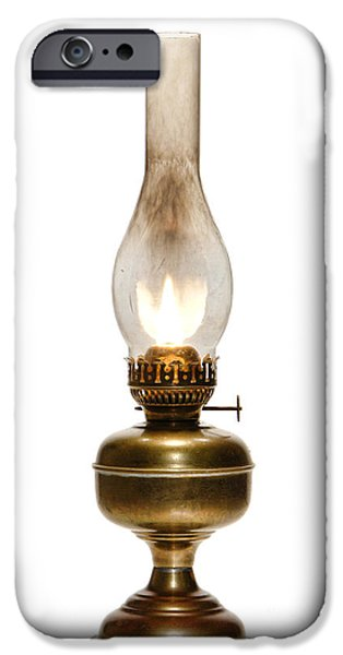 Hurricane Lamp iPhone Cases - Old Hurricane Lamp iPhone Case by Olivier Le Queinec