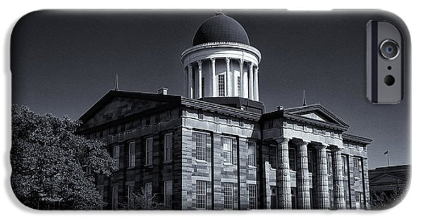 Historic Site iPhone Cases - Old Illinois Capitol Building - BW iPhone Case by Stephen Stookey