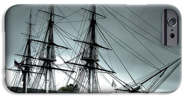 Pirate Ship iPhone Cases - Old Ironsides blue tone iPhone Case by Linda Ryan